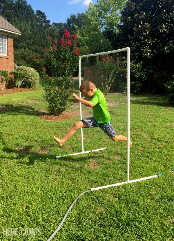 This DIY sprinkler is so easy to build and will provide hours of fun for the kids (and adults) this summer!