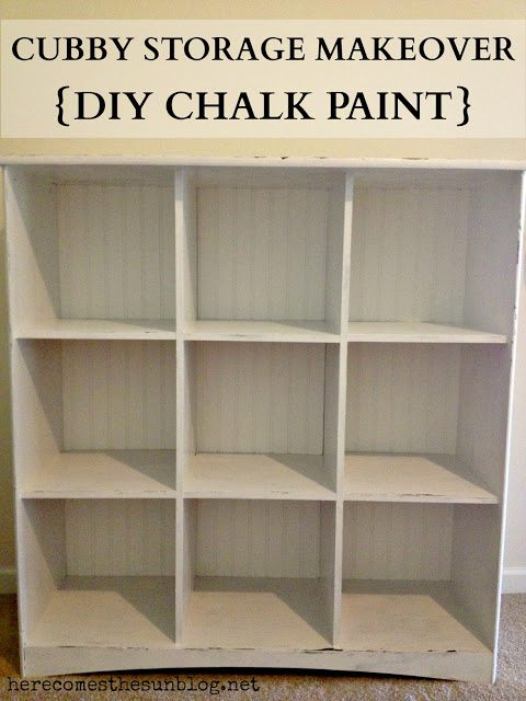 Cubby Storage Makeover Diy Chalk Paint Here Comes The Sun