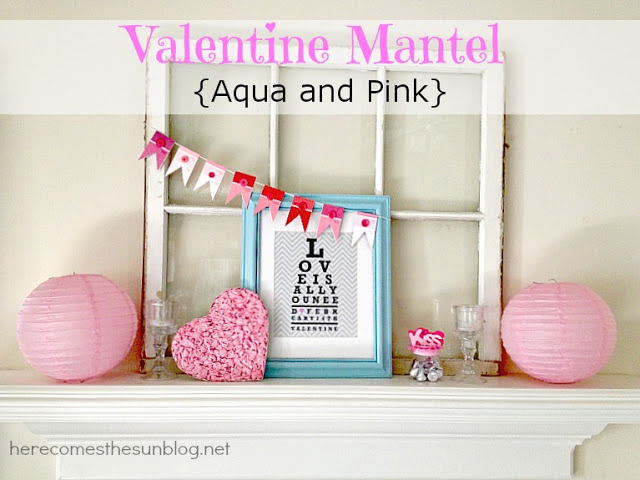 Aqua and Pink Valentine Mantel from herecomesthesunblog.net #valentine #mantel