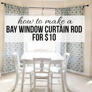 Easy DIY Bay Window Curtain Rod from herecomesthesunblog.net