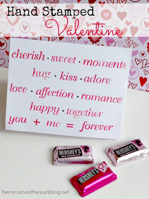 Hand Stamped Valentine I Here Comes the Sun #valentine #handmade