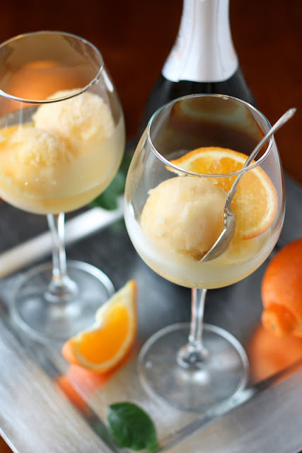 Tangerine Sorbet Champagne Floats by Completely Delicious