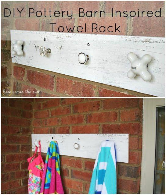 DIY Pottery Barn Inspired Towel Rack