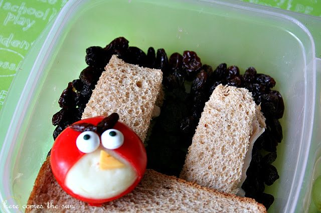 Angry Birds themed bento box