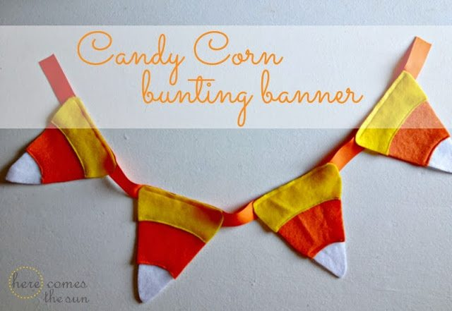 Candy Corn Bunting Banner tutorial via herecomesthesunblog.net