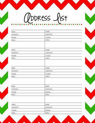 25 Days to and Organized Christmas: Free Printable Christmas Card Address List