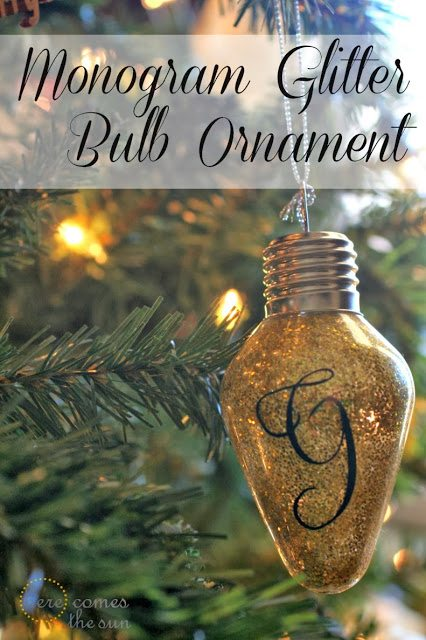 Monogram Glitter Bulb Ornament