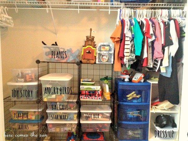 ideas for shelving in garage - How to Organize Kids Toys