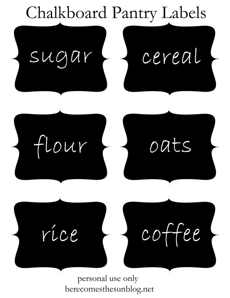 Chalkboard Pantry Labels