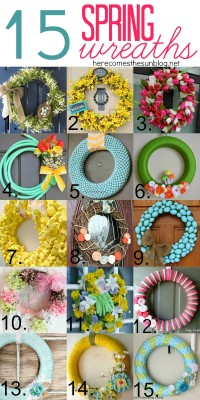 15 Beautiful Spring Wreaths | herecomesthesunblog.net