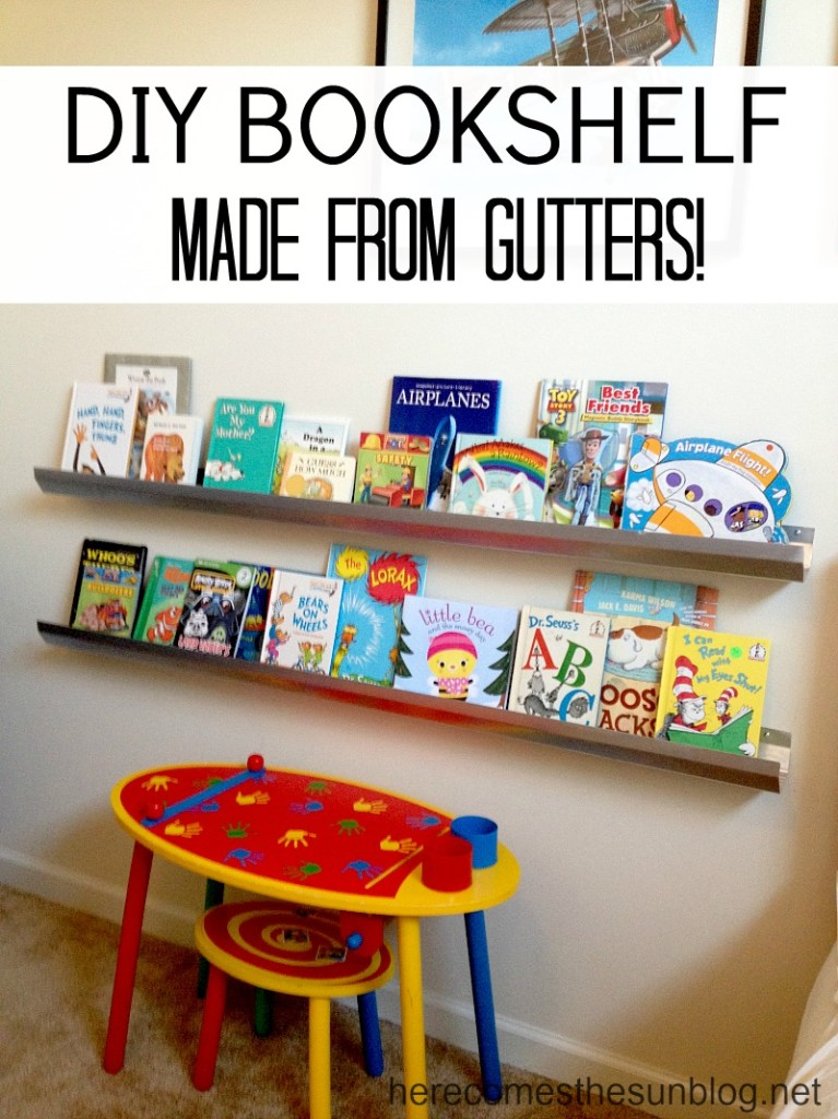 Easy DIY Bookshelf made from gutters! So easy to install.