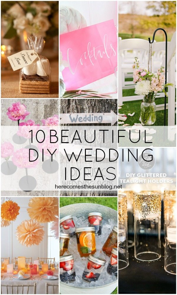 10 Beautiful DIY Wedding Ideas! Weddings are expensive. Save some cash with these DIY  ideas and make your special day look fabulous!
