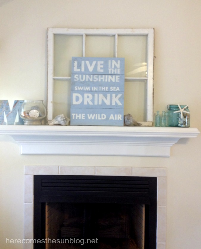 wooden sign on mantel