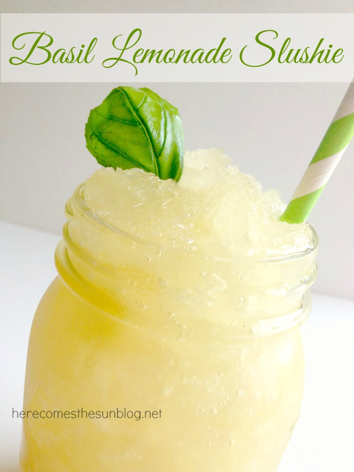 This Basil Lemonade Slushie Recipe mixes the unique flavor of basil into classic lemonade for a perfect summer drink.