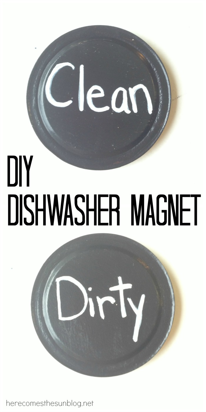 Create this simple DIY Dishwasher Magnet with mason jar lids!