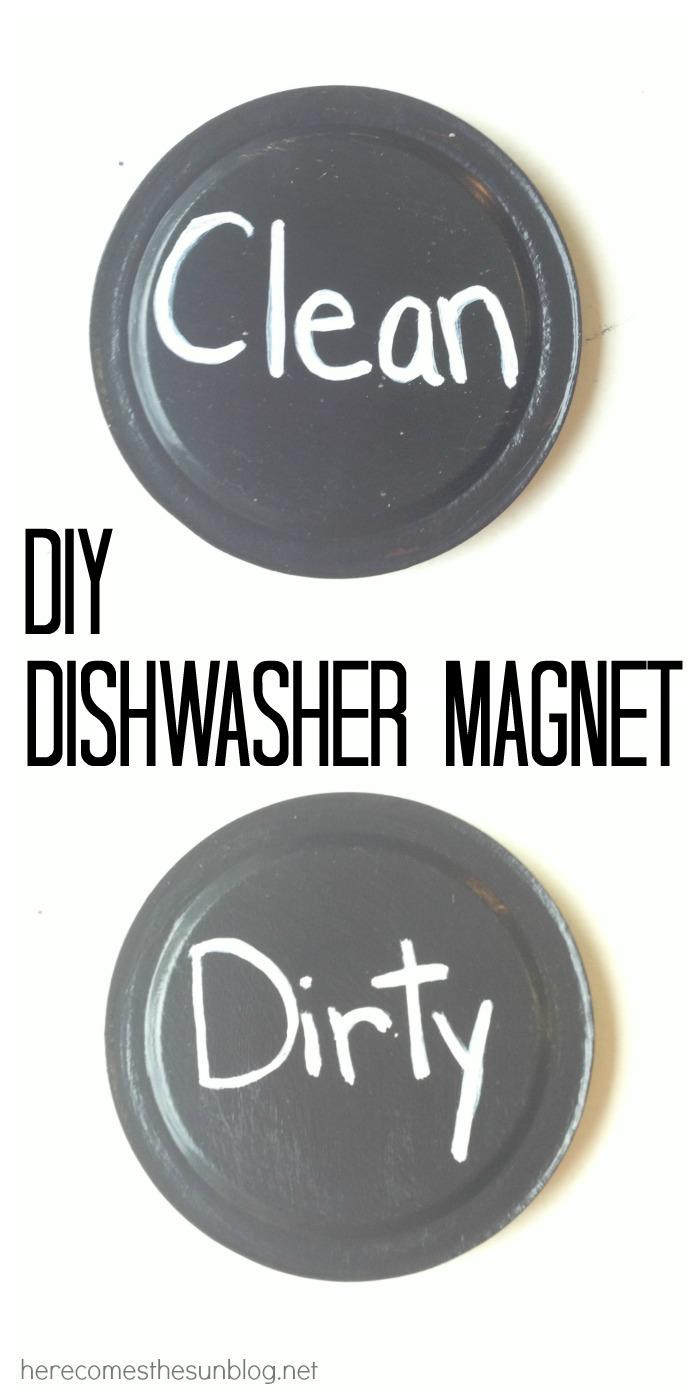 Create this simple DIY Dishwasher Magnet with mason jar lids!