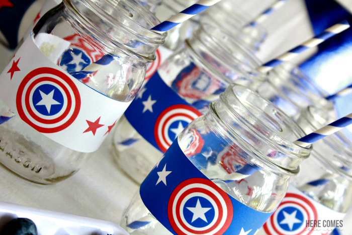"You can throw a ""SUPER"" Captain America Party with these ideas and free printables! #HeroesEatMMs #CollectiveBias #shop"