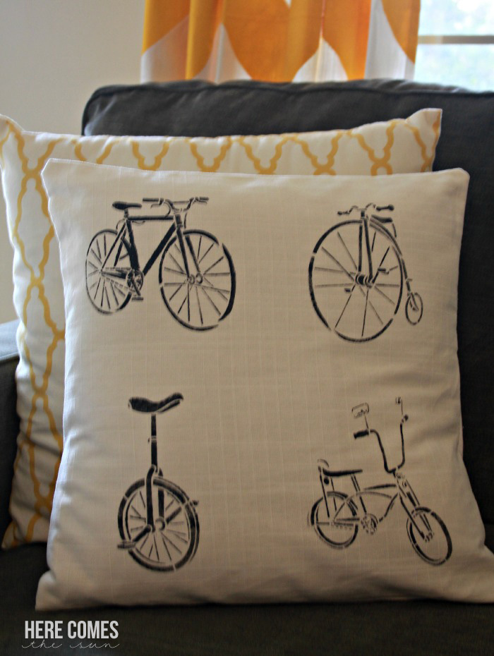 Create this easy vintage cycle stenciled pillow in less than 30 minutes! #plaidcrafts