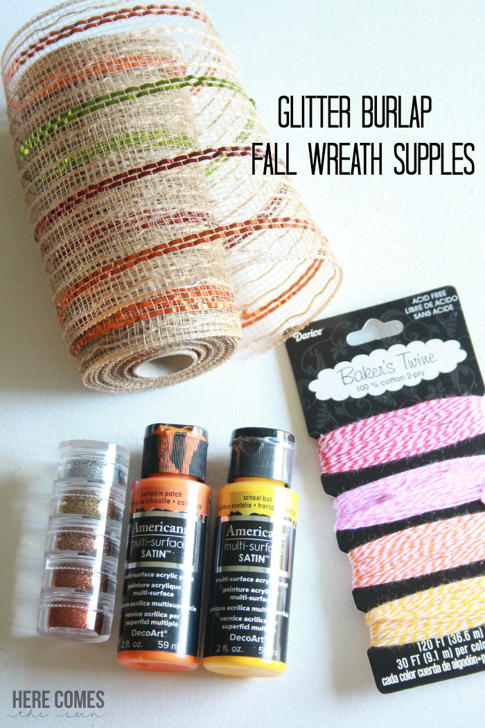 Create this Glitter Burlap Fall Wreath in 20 minutes and a few basic supplies!  Instant bling for your front door!
