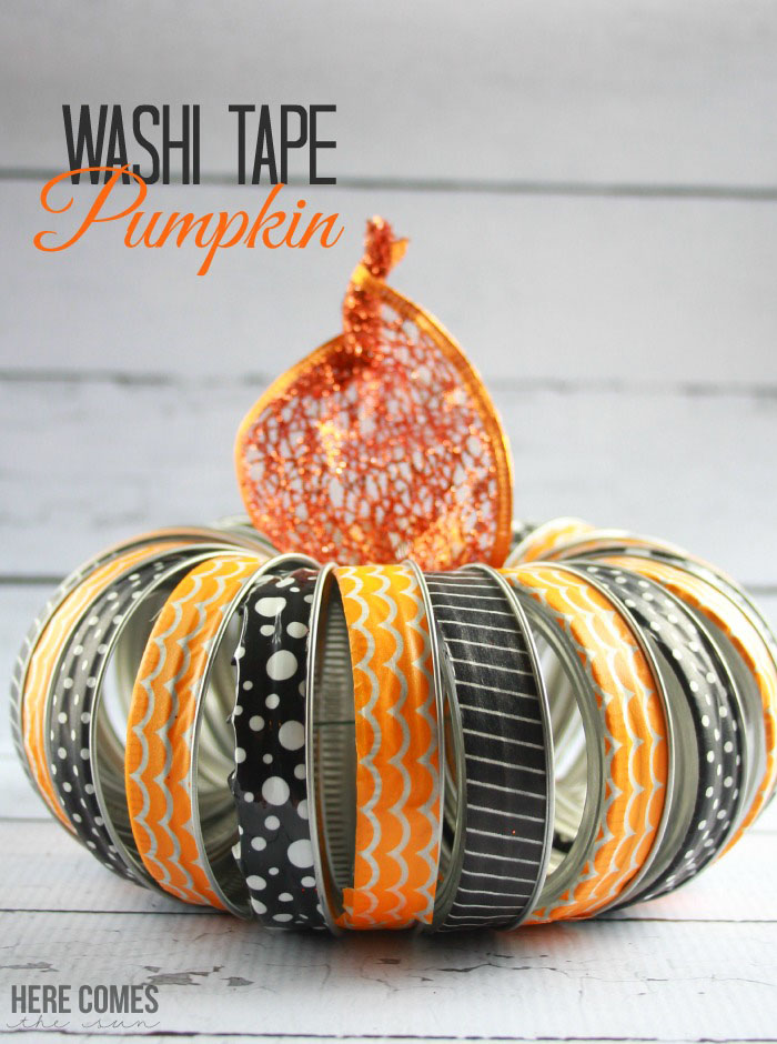 Create this cute #Halloween decor with mason jar lids and washi tape!