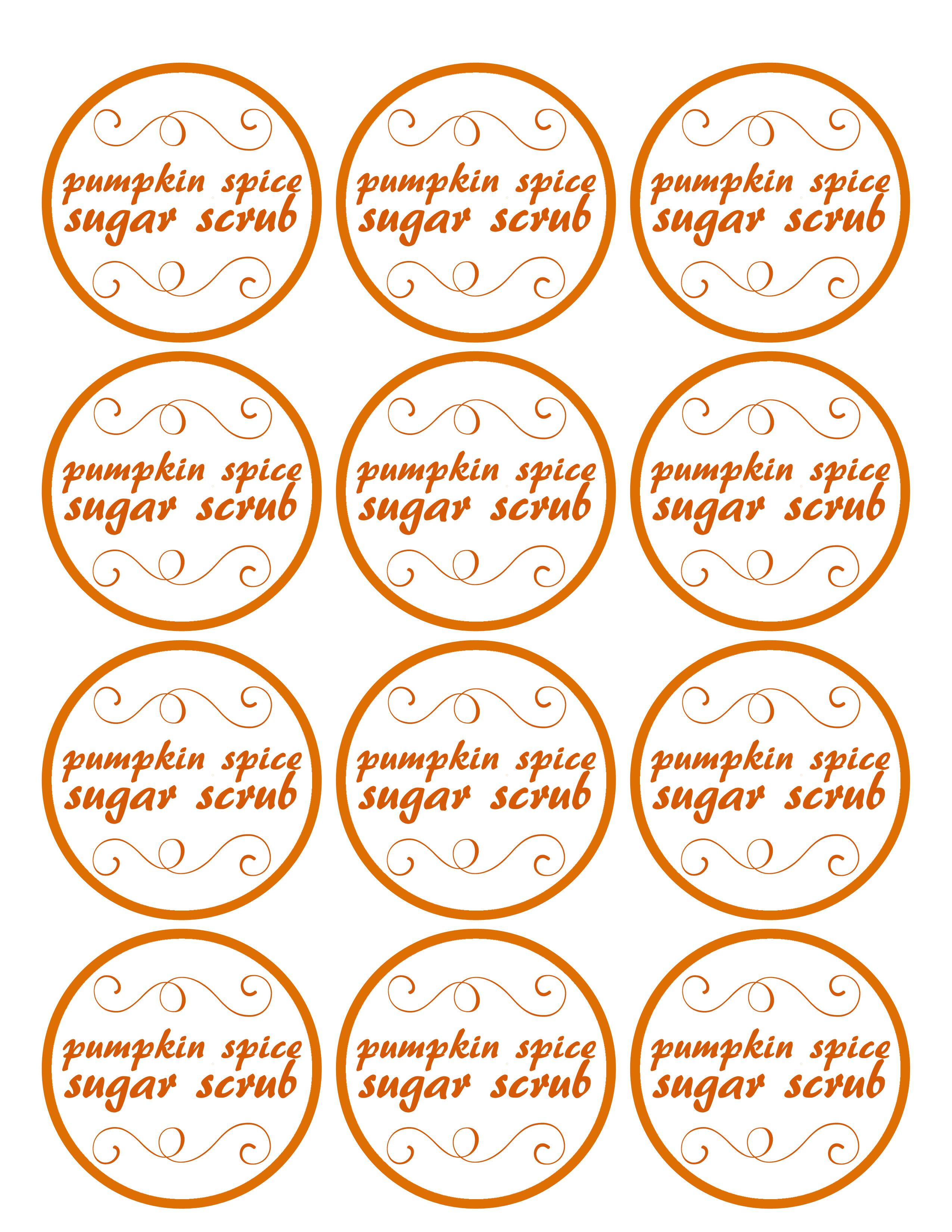 image regarding Printable Sugar Scrub Labels titled Pumpkin Spice Sugar Scrub