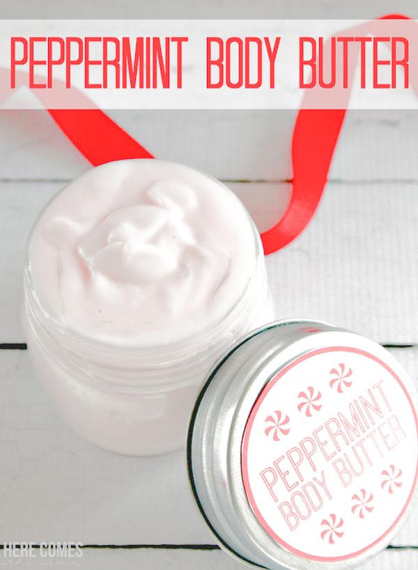 peppermint body butter in jar