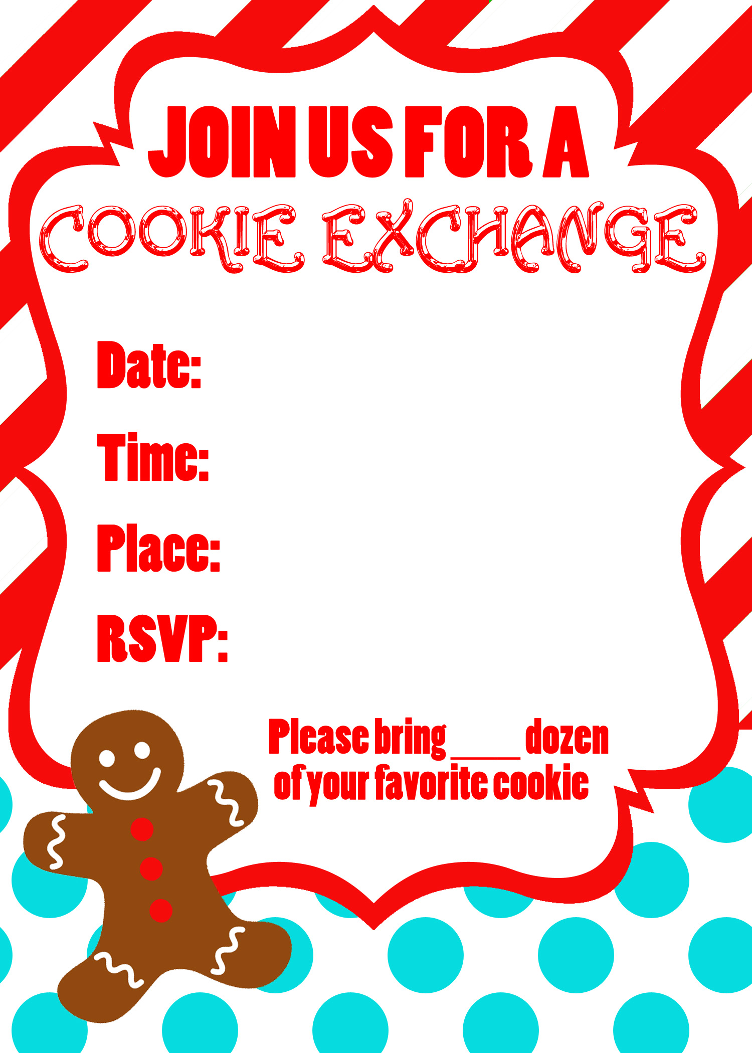 cookie exchange party printables uncommon designs 5 x7 invitation