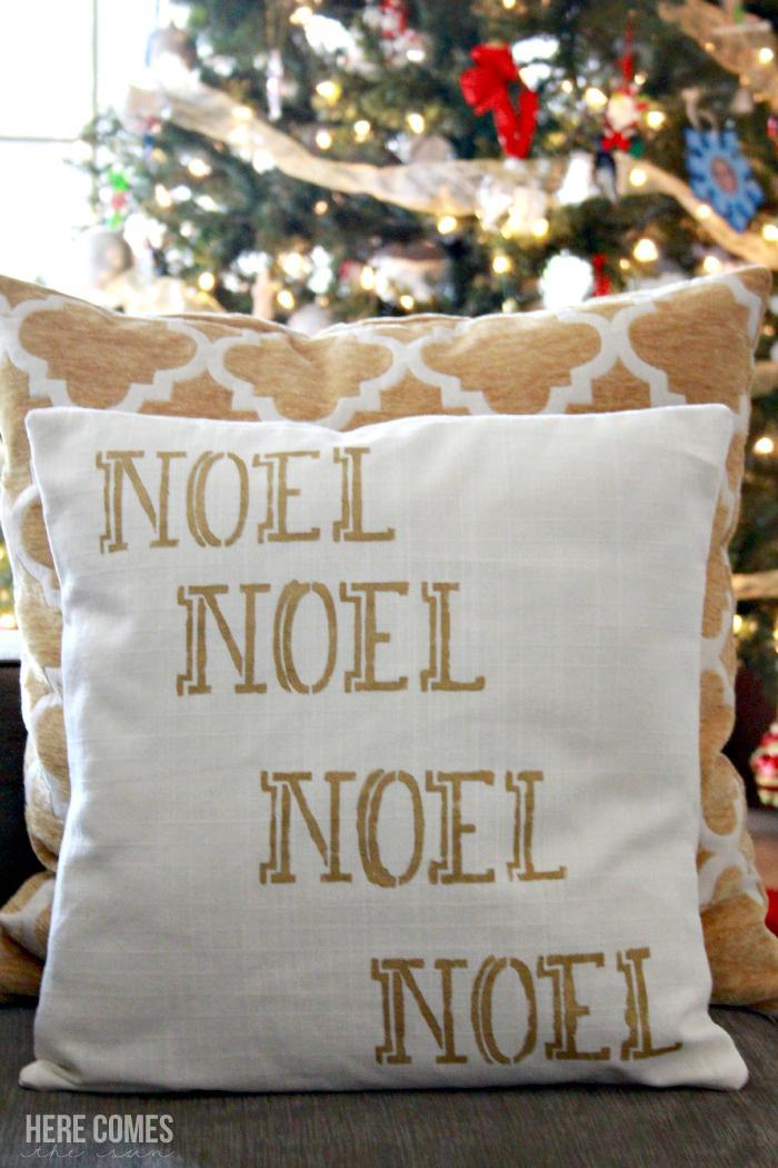 Gorgeous gold metallic stenciled Christmas pillow! #royaldesignstudio