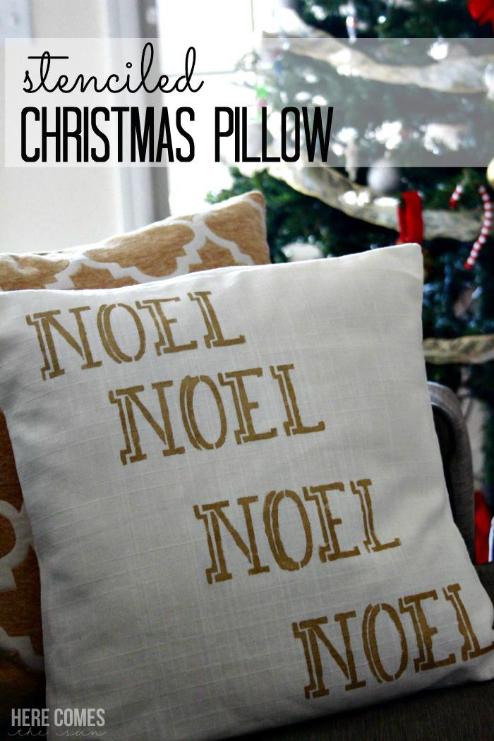 Gorgeous gold metallic stenciled Christmas pillow! #royaldesignstudio #creativelychristmas