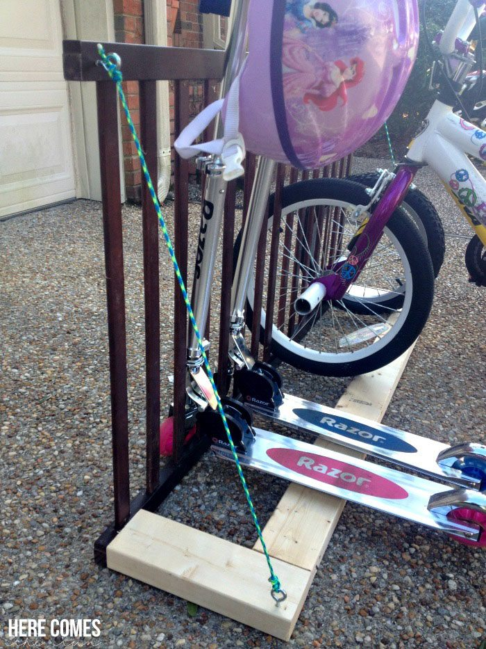 DIY Bike Rack made from a crib rail!
