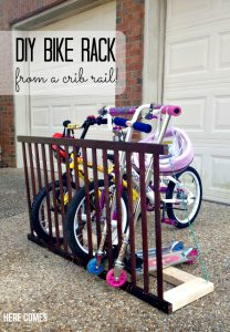 DIY Bike Rack from a Crib Rail!