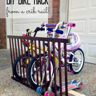 DIY Bike Rack from a Crib Rail!