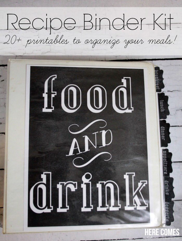 Recipe Binder Kit With Free Printables Get Your Meal Planning Organized This Stylish Chalkboard