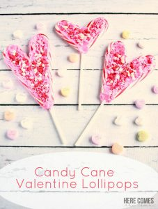 Candy Cane Valentine Lollipops