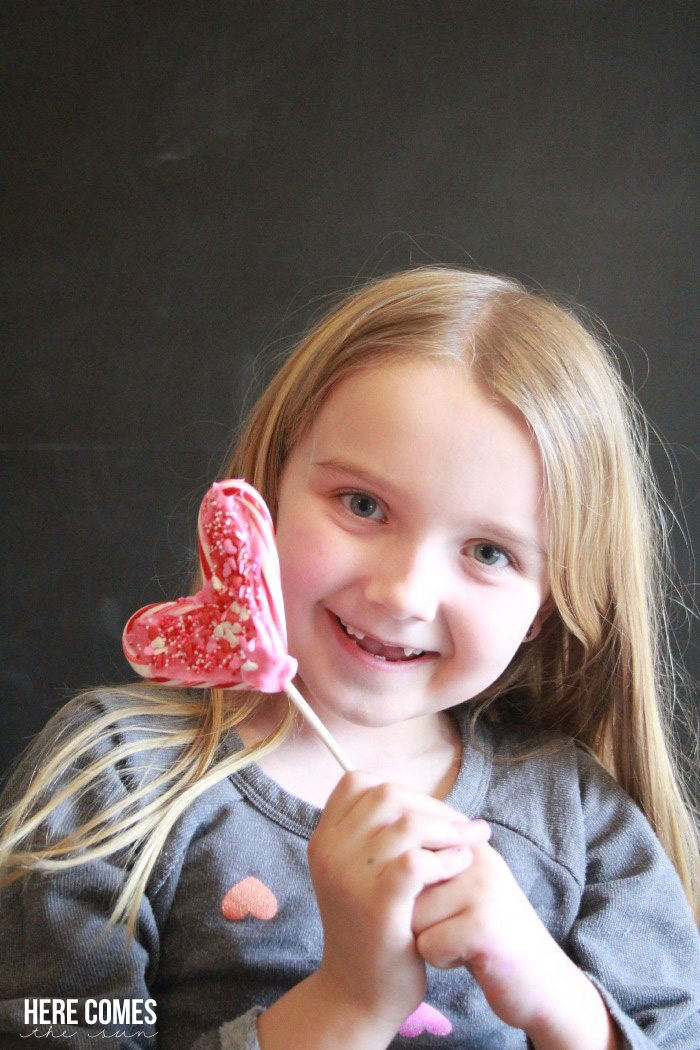 Use leftover candy canes to make these Candy Cane Valentine Lollipops!