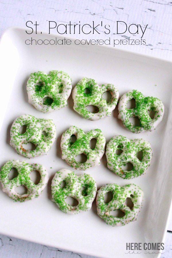 Chocolate covered pretzels are perfect for a St. Patrick's Day snack!