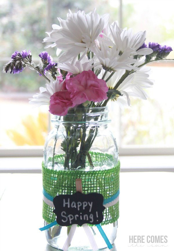 Spring mason jar vase here comes the sun