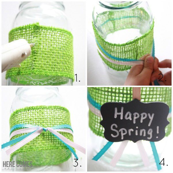 Create a beautiful mason jar vase for Spring!