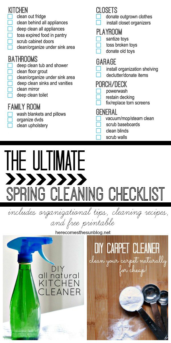 This Ultimate Spring Cleaning Checklist will help you tackle the dreaded chores of cleaning and organizing. Includes organizational tips, printables and cleaning recipes!