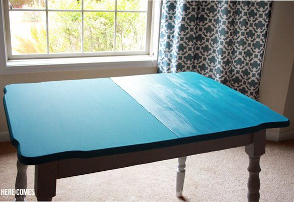 A beautiful kitchen table makeover with  decoart chalky finish paint    chalkyfinish  decoartprojectsKitchen Table Makeover with Chalky Finish Paint   Here Comes The Sun. Teal Painted Kitchen Table. Home Design Ideas