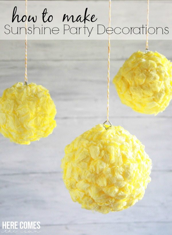 Create fun Sunshine Party decorations with this easy tutorial! #MakeItFunCrafts #ad
