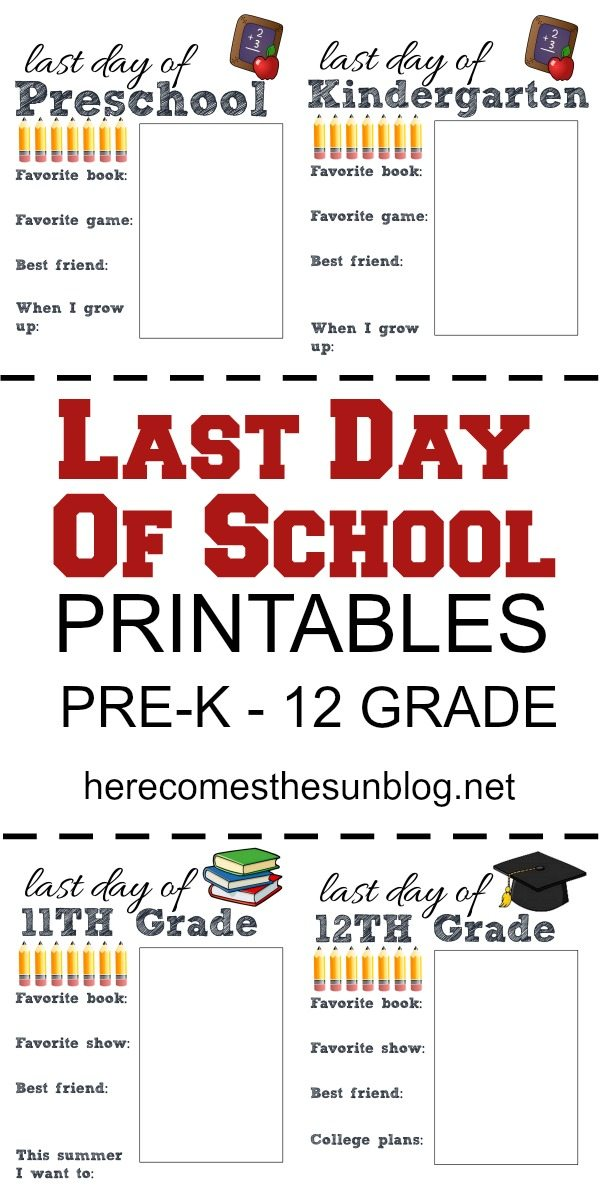 Last day of school printables are perfect for preserving memories!