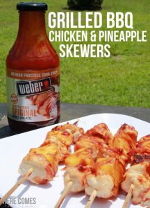 Grilled BBQ Chicken and Pineapple Skewers