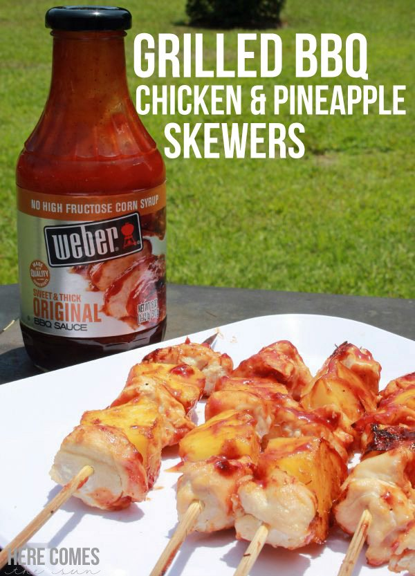 Mouthwatering BBQ Chicken and Pineapple Skewers recipe! #WeberBBQSauces #ad