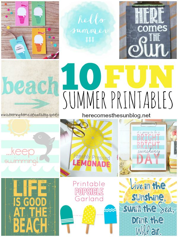 10 Fun Summer Printables