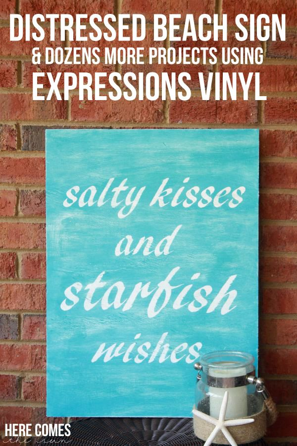 Create a unique distressed beach sign for your coastal decor. #VinylProjects #ExpressionsVinyl