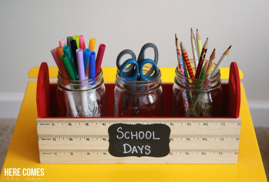 A DIY School Supply Caddy keeps the kids' desks organized and important supplies within reach.