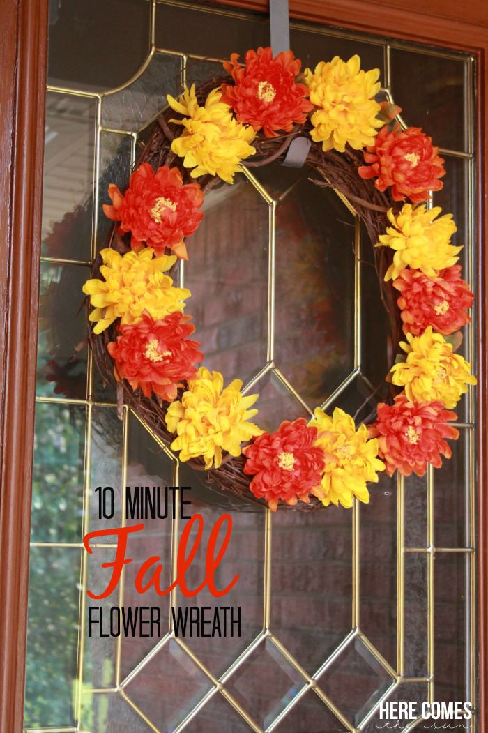 Create a beautiful fall flower wreath for your front door in 10 minutes with this easy tutorial
