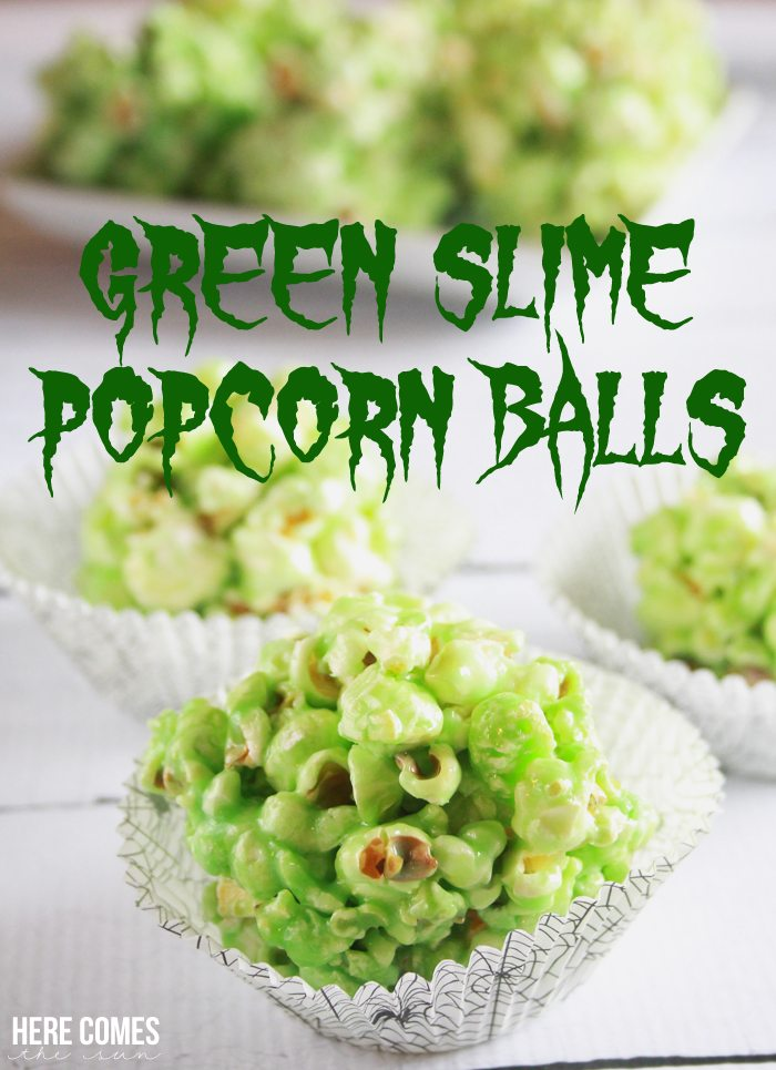 Green Slime Popcorn Balls are a gooey and ghoulish Halloween treat!