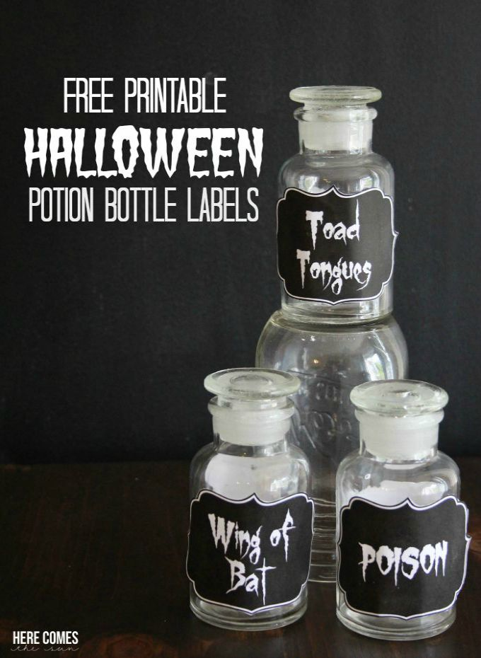 Free printable spooky Halloween Potion Bottle Labels! These will be perfect for my Halloween party!